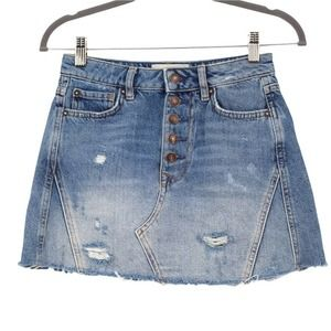 We the Free People Distressed Denim Mini Skirt A Line Light Wash Pockets Size 24